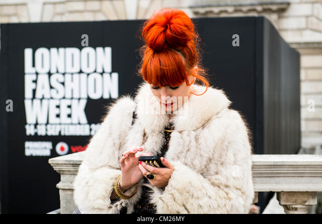 17th September 2012, UK. London Fashion Week at Somerset House, London. The famous and fashionable attend the shows - Stock Image