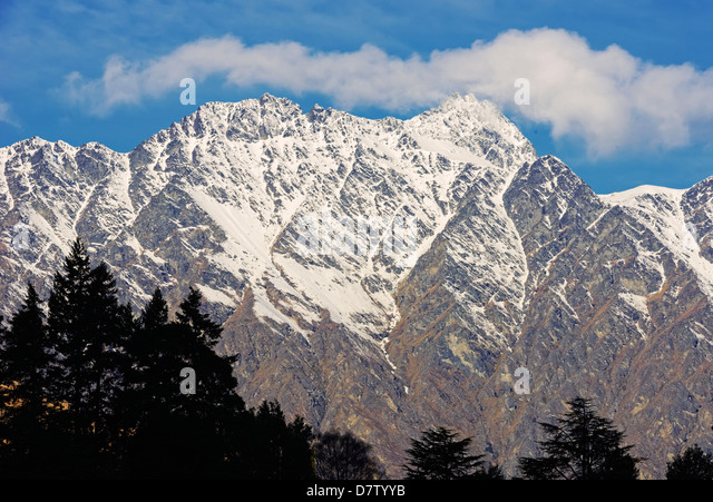 Snow covered Remarkables Mountain Range, Queenstown, Otago, South Island, New Zealand - Stock Image