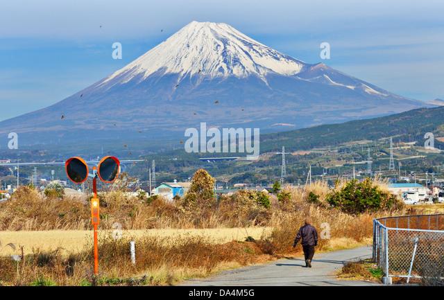 Farmland below Mt. Fuji in Japan. - Stock Image