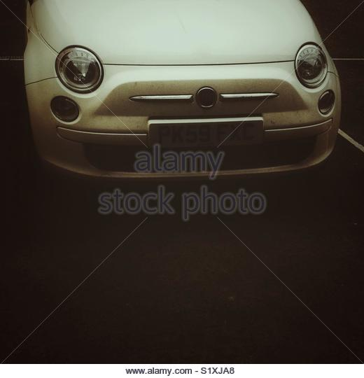 Close up front end of fiat 500 car with copy space - Stock Image