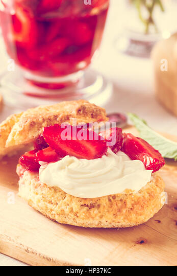 Homemade strawberry shortcake with vanilla whipped cream and berry ...