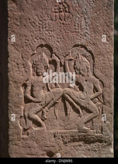 Apsaras dancing at Angkor Wat site Cambodia - Stock-Bilder