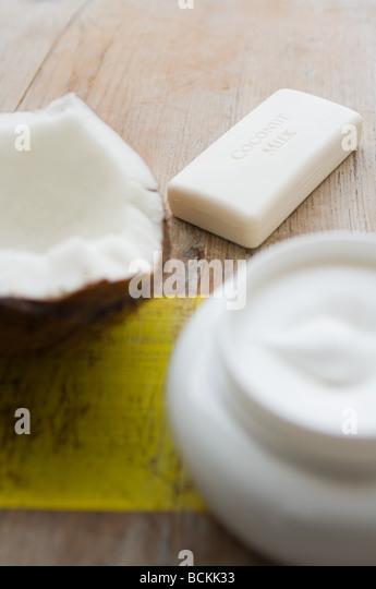 Coconut soap and cream - Stock Image