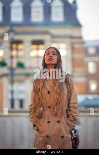 Teenage Girl with Closed Eyes - Stock Image