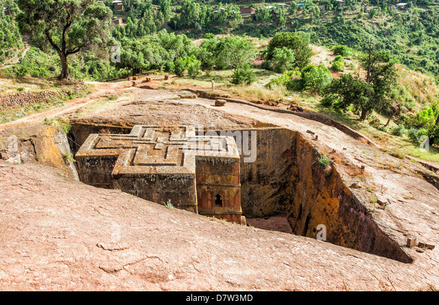Monolithic rock-cut Church of Bete Giyorgis (St. George), UNESCO World Heritage Site, Lalibela, Amhara region, Northern - Stock Image