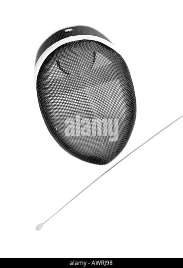 Fencing mask and blade, b&w. - Stock Image