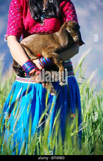 RSC 60431 : Indian girl with goat Bisoi ; Uttaranchal ; India - Stock Image