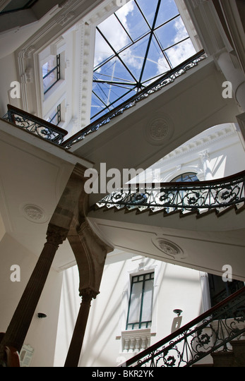 Ecuador, Staircase of the Metropolitan Cultural Centre in the Old City of Quito. - Stock Image