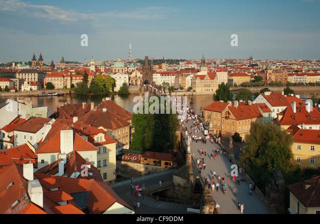 Charles Bridge, Prague, UNESCO World Heritage Site, Czech Republic, Europe - Stock Image