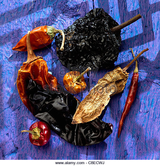 Assorted dried pimentos - Stock Image