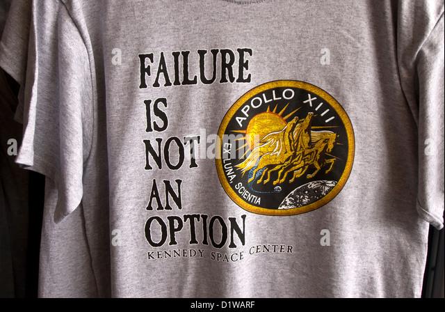Souvenir t-shirt 'failure is not an option' slogan Apollo 13 Kennedy Space Center Visitor Center, Florida - Stock Image