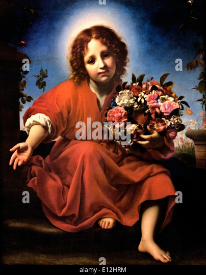 The Infant Christ with a Floral Wreath 1663 Carlo Dolci Florence 1616-1687  Italy Italian - Stock Image
