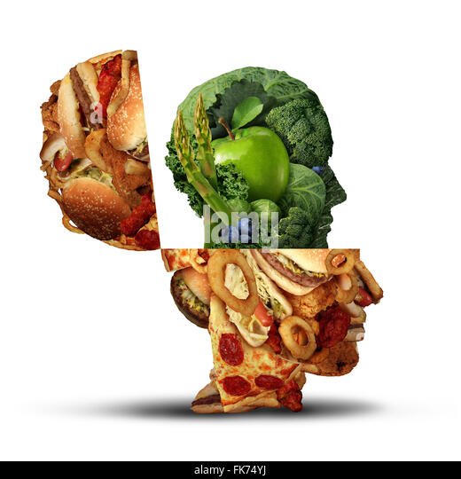 Nutrition change healthy lifestyle concept changing bad eating habits and from unhealthy junk food to fresh fruits - Stock Image