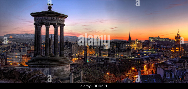 Panoramic view over Edinburgh city centre , capital of Scotland at Sunset, from Carlton Hill - Stock Image