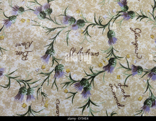 Cloth with thistles and Scottish towns listed - Stock Image