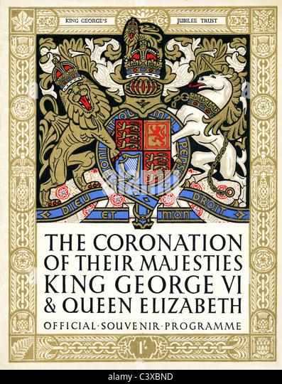 Cover of official souvenir programme of The Coronation of Their Majesties King George VI and Queen Elizabeth, published - Stock-Bilder
