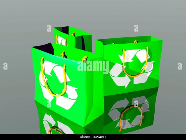 Reusable shopping bags, artwork - Stock Image