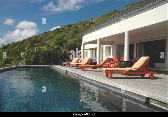St Barths St Barts Luxury Villa Pool - Stock Image