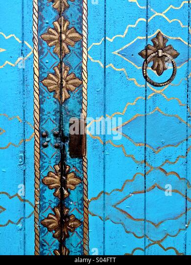 Blue door at the Funk Zone arts district in Santa Barbara, California USA - Stock Image
