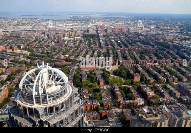 Boston Massachusetts Prudential Center Skywalk Observatory aerial panoramic view 111 Huntington Avenue skyscraper - Stock Image