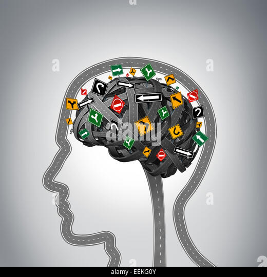 Mental stress and brain health problems as a group of roads and streets shaped as a human head and mind with confused - Stock Image