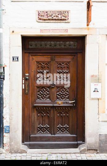 Door detail, Schnoor, Bremen, Germany - Stock Image