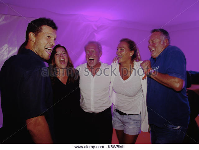 'GRK Golf Charity Masters' opening party in Leipzig.  Featuring: MICHAEL BALLACK MIT NATACHA, KATI WITT, - Stock Image