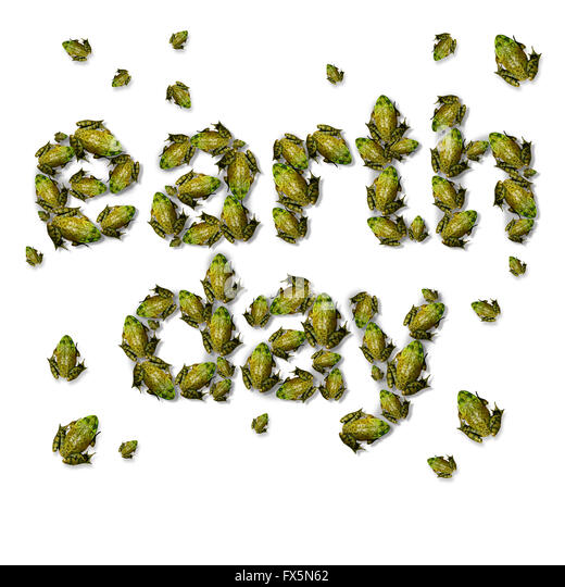 Green earth day ecxological concept as a group of frogs coming together to form text as an environmental symbol - Stock Image