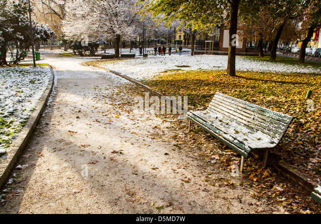 Square covered by snow. Milan, Province of Milan, Italy. - Stock Image