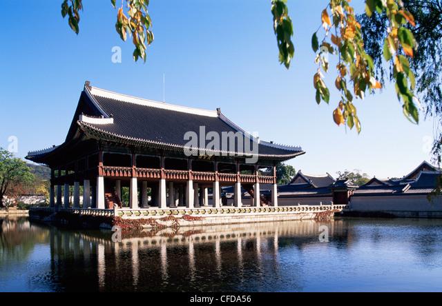 Korea, Seoul, Gyeongbokgung Palace, Gyeonghoeru Pavilion - Stock Image
