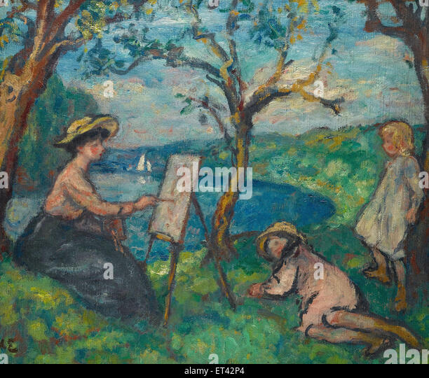 Georges d'Espagnat  Woman Painting in the Open Air - Stock-Bilder