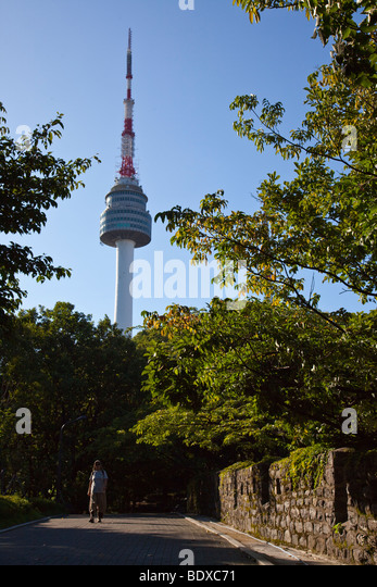 N Seoul Tower in Namsan Park in Seoul South Korea - Stock Image