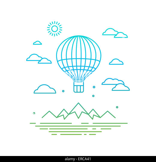 Travel concept in linear style - air balloon flying over the mountains - Stock-Bilder