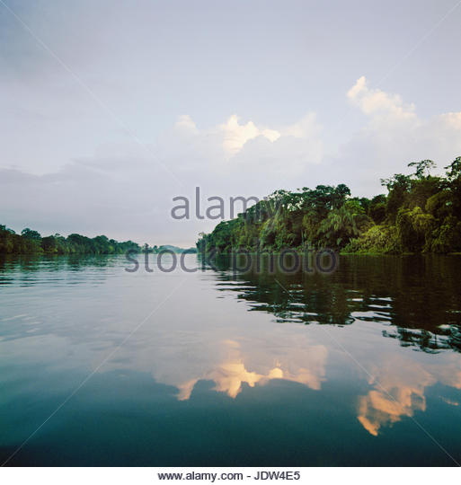River and rainforest landscape at the Tortuguero National Park, East Coast, Tortuguera, Limon, Costa Rica - Stock-Bilder