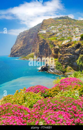 View at Cabo Girao Cliff - Camara de Lobos, Madeira island, Portugal - Stock-Bilder