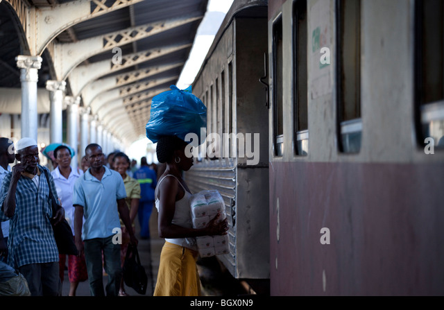inside the Maputo train station, Mozambique - Stock Image