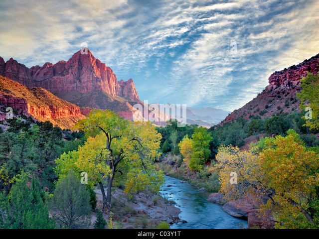 Fall color and Virgin River. Zion National Park, Utah. Sky has been added - Stock-Bilder