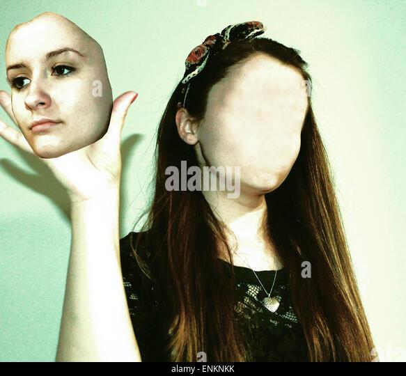 photoshop, photoshop manipulation, portraiture, color photography, shadows, model, make up, hair, creative, artistic, - Stock Image