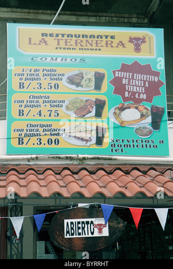 Panama City Panama Bella Vista La Ternera restaurant business casual steak house sign Spanish language special price - Stock Image