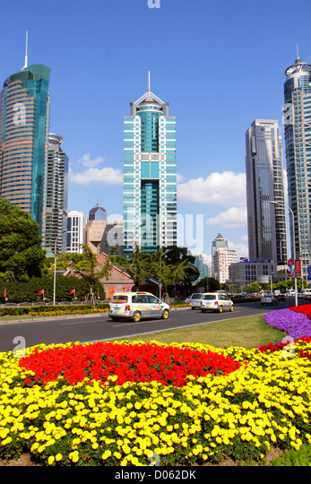 China Shanghai Pudong Lujiazui Financial District Century Avenue Central Green Space Greenland flowers World Finance - Stock Image
