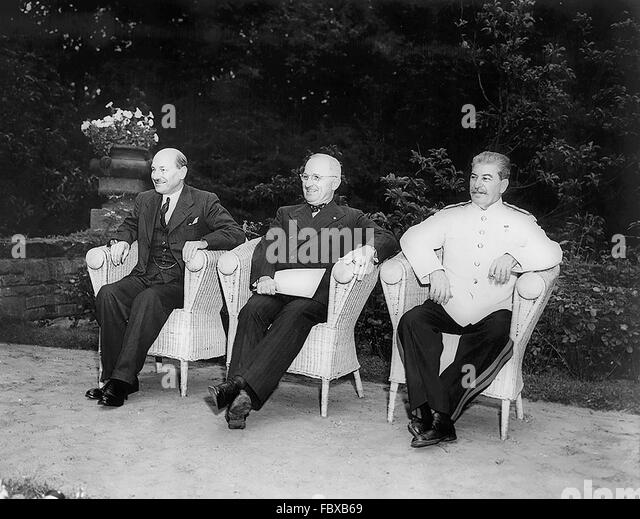 Potsdam Conference, August 1945. British Prime Minister Clement Attlee, US President Harry S Truman, and Soviet - Stock Image