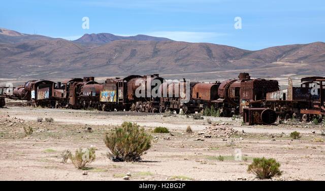 Train cemetery. Uyuni. Bolivia - Stock Image