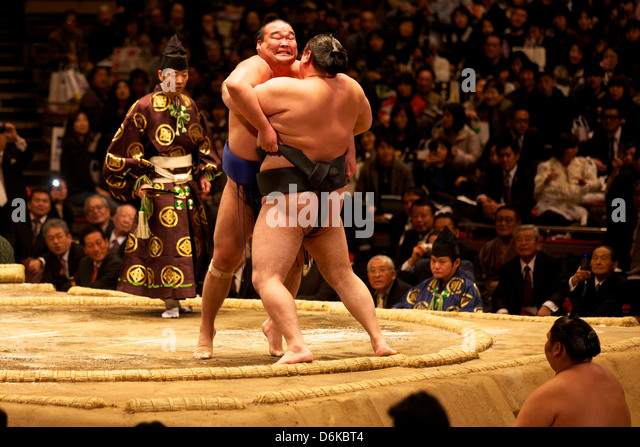 Two sumo wrestlers pushing hard to put their opponent out of the circle, sumo wrestling competition, Tokyo, Japan, - Stock Image
