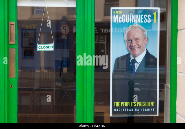 Poster of Sinn Fein presidential candidate Martin McGuinness in the race for the Irish presidency. - Stock Image