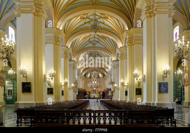 Interior, Lima Cathedral, Lima, Peru - Stock Image