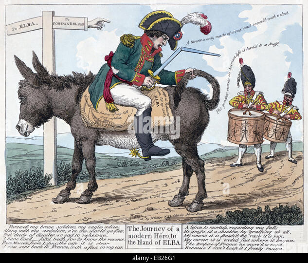 NAPOLEON 'The journey of a modern hero, to the island of Elba'  hand coloured print published in May 1814 - Stock Image