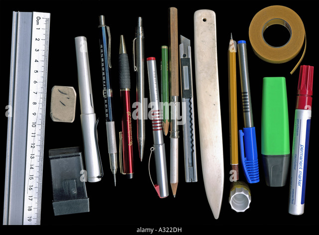 Assorted stationary - Stock Image