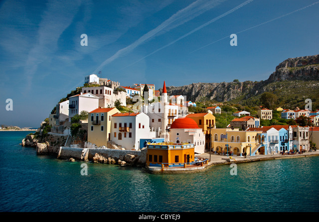 Partial view of the picturesque village of Kastellorizo (or 'Meghisti') island, Dodecanese, Greece - Stock-Bilder
