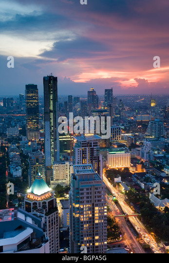 Business district, Bangkok, Thailand - Stock Image