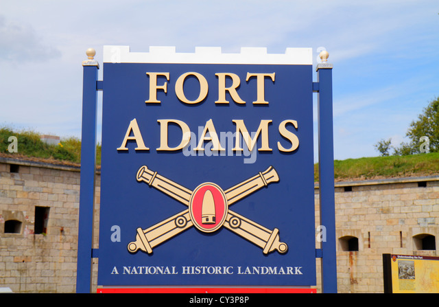 Rhode Island Newport Fort Ft. Adams State Park sign - Stock Image